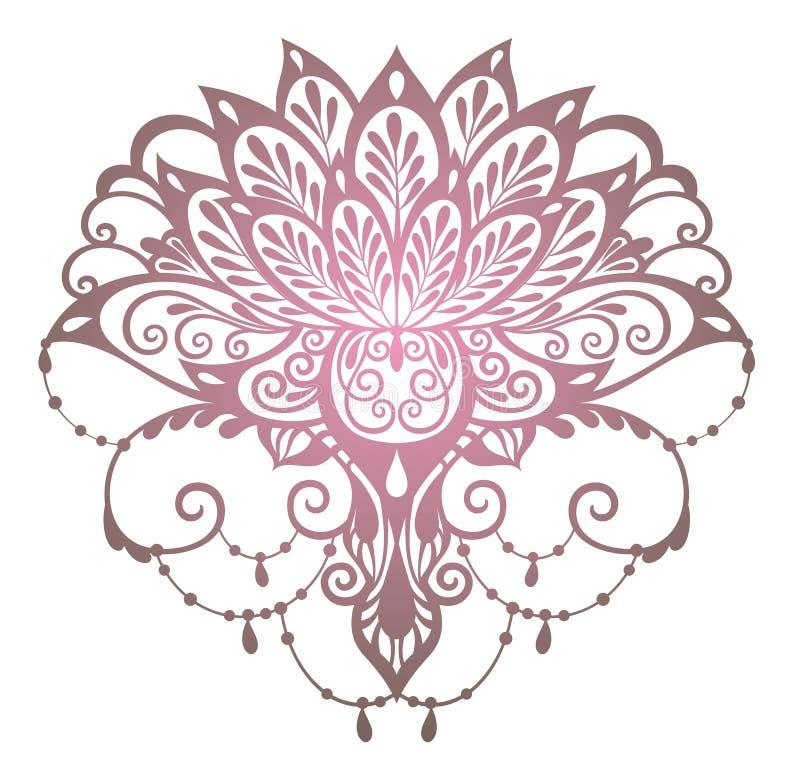 Flor De Lotus Estilo Da Tatuagem Ilustração Do Vetor