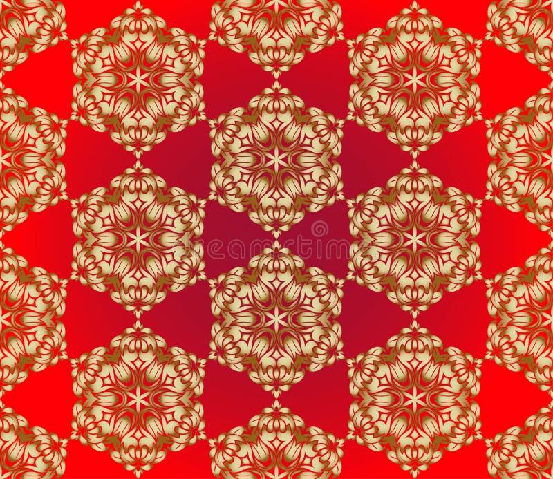 Estilo indio tradicional, elementos florales ornamentales Ejemplo del vector del modelo inconsútil del mehndi de oro stock de ilustración