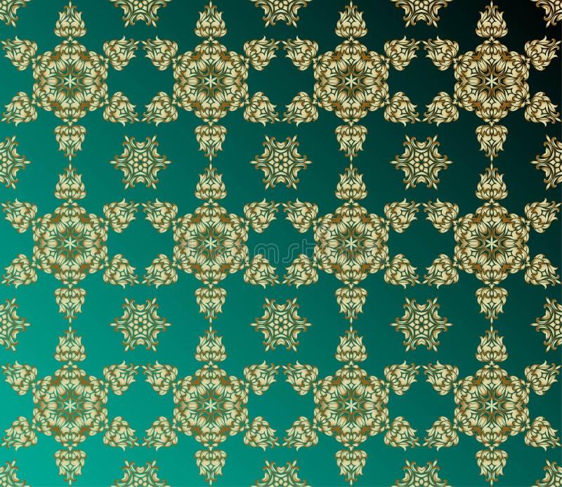 Estilo indio tradicional, elementos florales ornamentales Ejemplo del vector del modelo inconsútil del mehndi de oro libre illustration