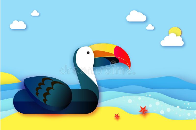Estilo inflable gigante del corte del papel del tucán de la fantasía Juguetes del flotador de la piscina de la papiroflexia Agua  libre illustration