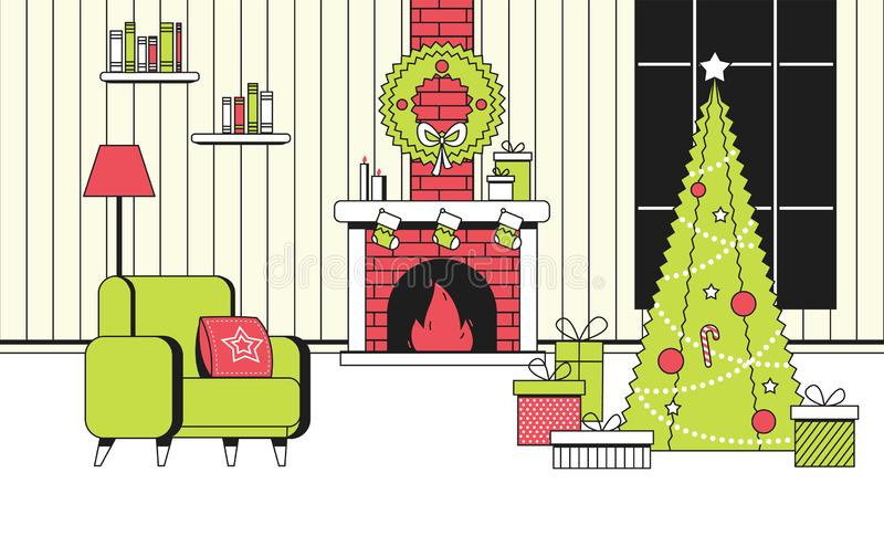 Estilo interior del vector del concepto del color del Año Nuevo de la historieta plana suave de la Navidad Visión interior con la libre illustration