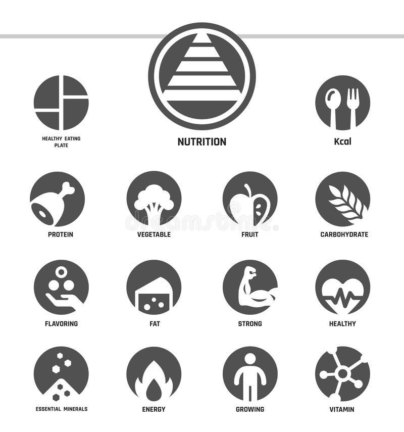 Estilo inverso determinado del icono de la nutrición ilustración del vector
