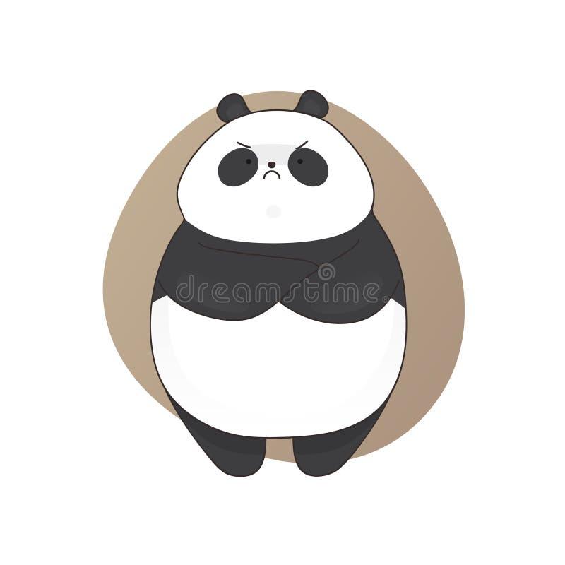 Estilo irritado bonito aborrecido dos desenhos animados da panda Ilustração desenhada mão do vetor ilustração do vetor