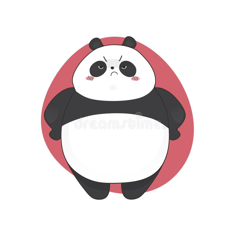 Estilo irritado bonito aborrecido dos desenhos animados da panda Ilustração desenhada mão do vetor ilustração stock