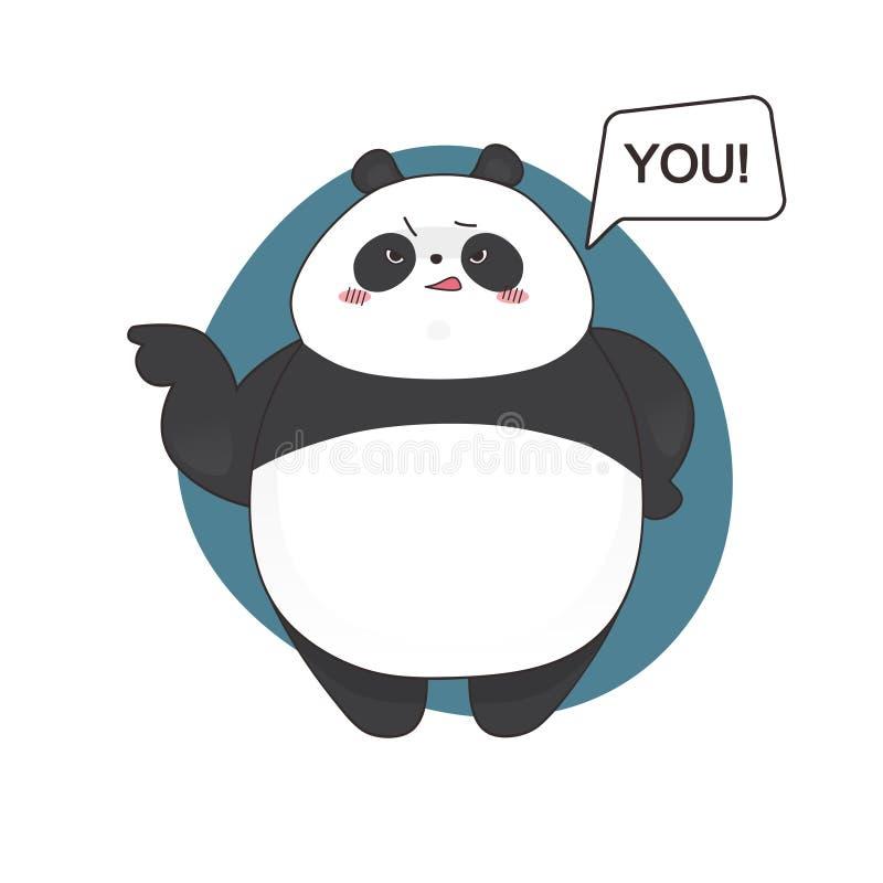 Estilo irritado bonito aborrecido dos desenhos animados da panda Ilustração desenhada mão do vetor ilustração royalty free