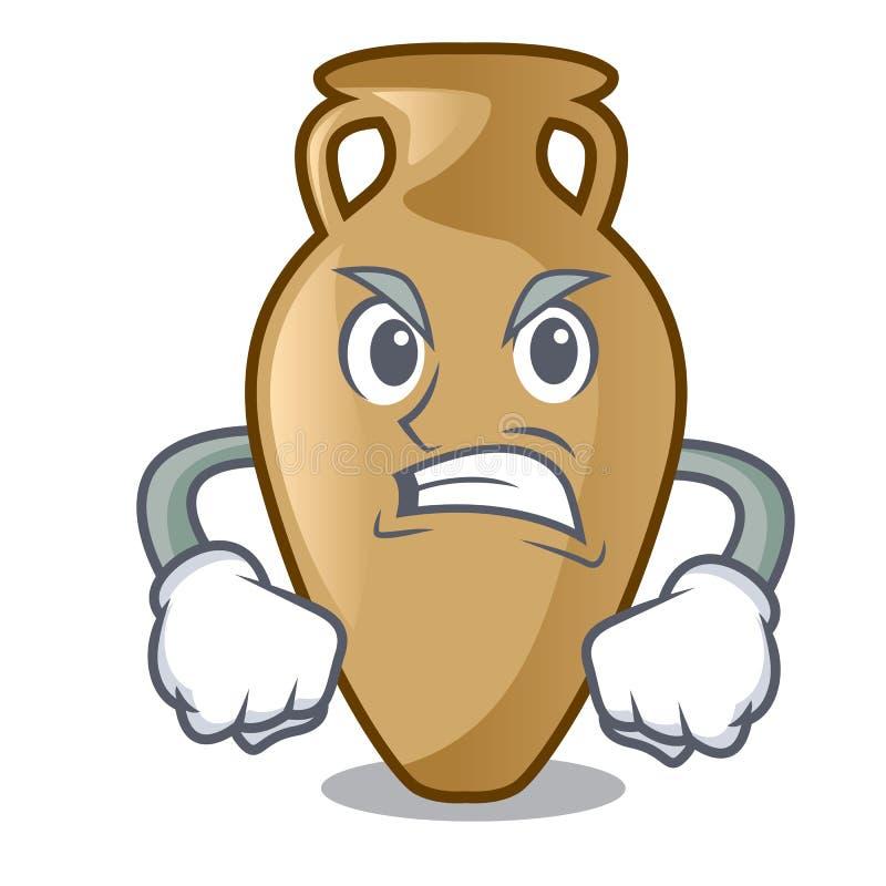 Estilo irritado dos desenhos animados da mascote da ânfora ilustração do vetor