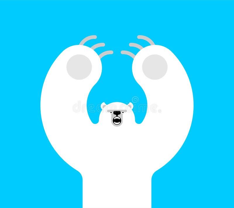 Estilo isolado mau dos desenhos animados do urso polar Predador selvagem ataques grandes do urso branco ilustração do vetor