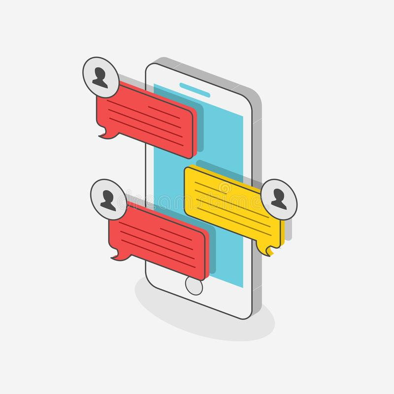 Estilo isométrico de conversa do conceito 3d com o móbil no fundo branco ilustração do vetor
