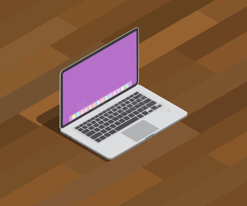 Estilo isométrico del cuaderno 3d del ordenador portátil encima de la tabla de madera con la sombra stock de ilustración