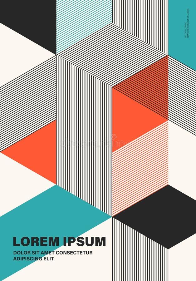 Estilo isométrico geométrico abstracto del arte moderno del fondo de la plantilla del diseño de la disposición de la forma imagen de archivo