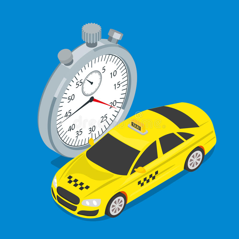 Estilo isométrico plano 3d del taxi y del cronómetro libre illustration