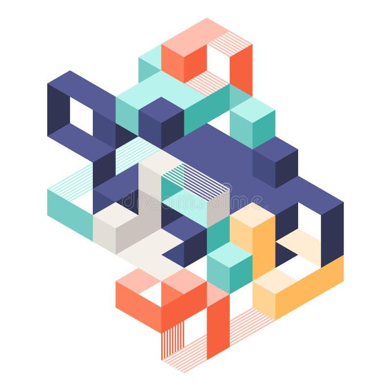 Estilo isom?trico geom?trico abstracto del arte moderno del fondo de la plantilla del dise?o de la disposici?n de la forma libre illustration