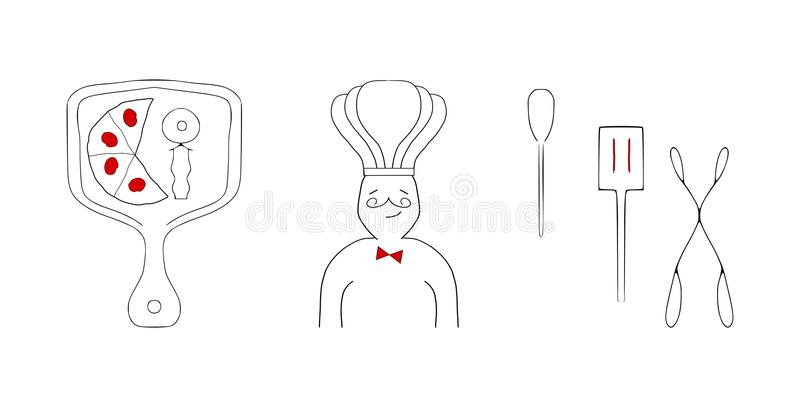 Estilo italiano del bosquejo de los elementos del diseño del restaurante fotos de archivo