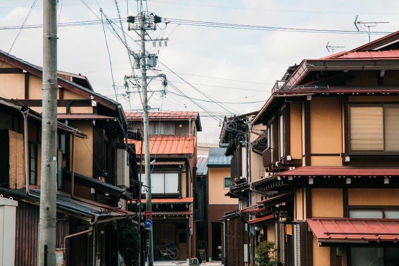 Estilo japonés de la casa en la ciudad vieja Takayama, Japón fotografía de archivo