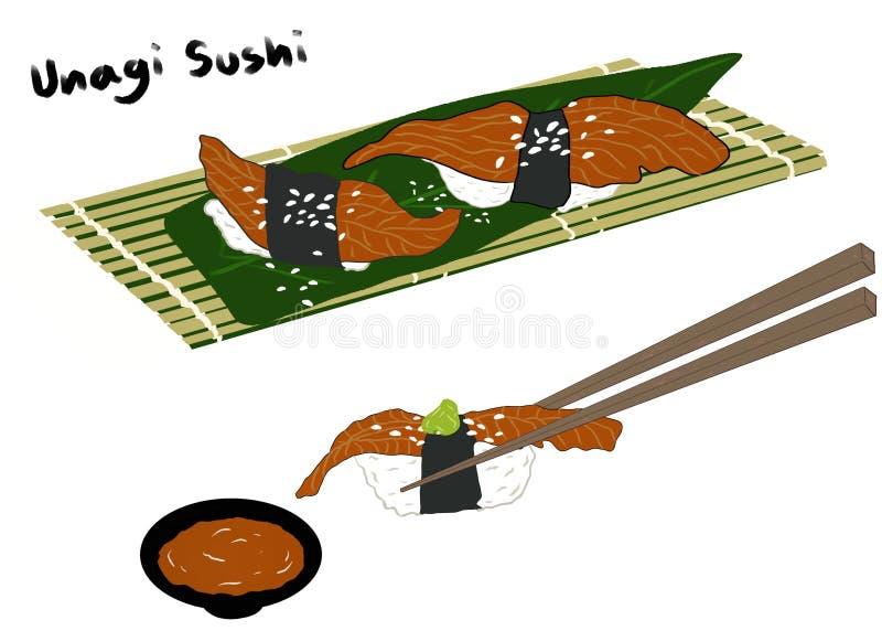 Estilo japonês do alimento, sushi de Unagi polvilhado com o sésamo na bandeja de bambu ilustração stock