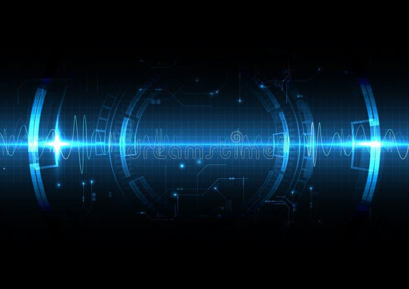 Estilo ligero azul de la onda de choque de la tecnología ilustración del vector