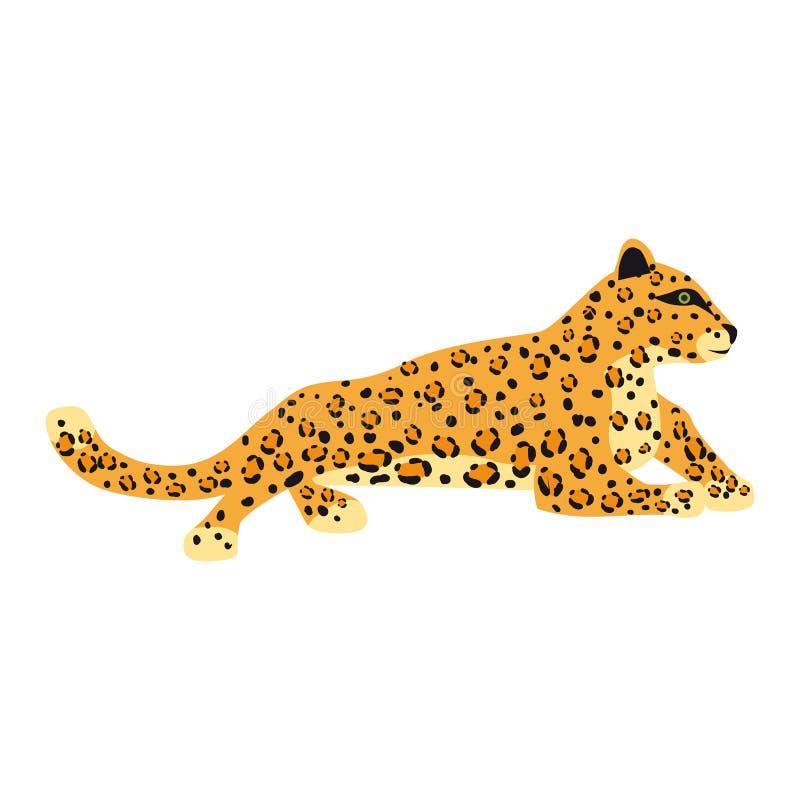 Estilo lindo de la tendencia del leopardo, mam?fero despredador animal, selva Ilustraci?n del vector aislada en el fondo blanco stock de ilustración
