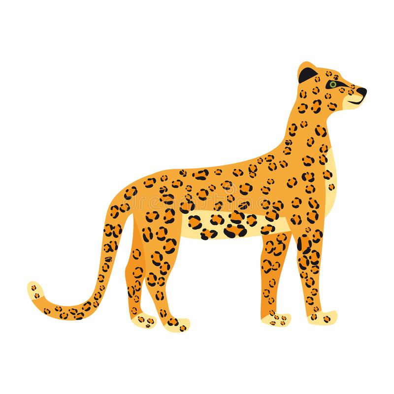 Estilo lindo de la tendencia del leopardo, mam?fero despredador animal, selva Ilustraci?n del vector aislada en el fondo blanco ilustración del vector