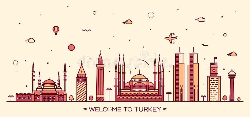 Estilo linear da ilustração do vetor da skyline de Turquia ilustração royalty free