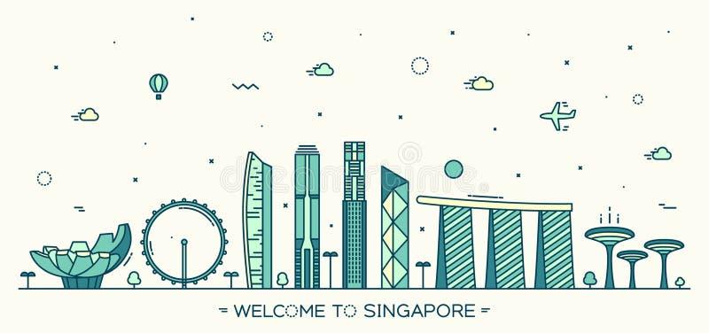 Estilo linear da ilustração do vetor de Singapura da skyline ilustração do vetor