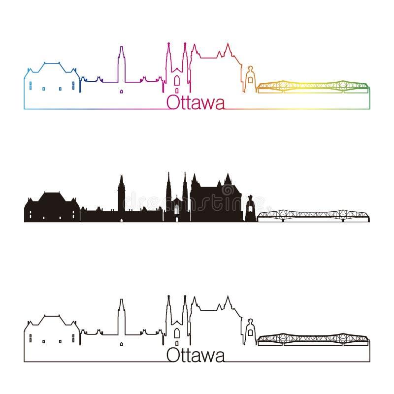 Estilo linear da skyline de Ottawa V2 com arco-íris ilustração stock