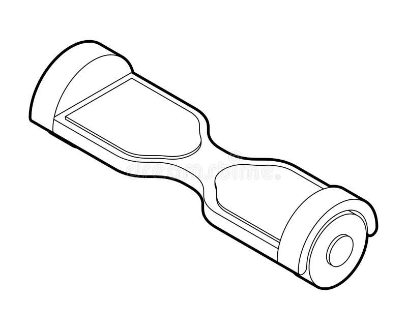 Estilo linear de GyroScooter isolado 'trotinette' de duas rodas com um e ilustração royalty free
