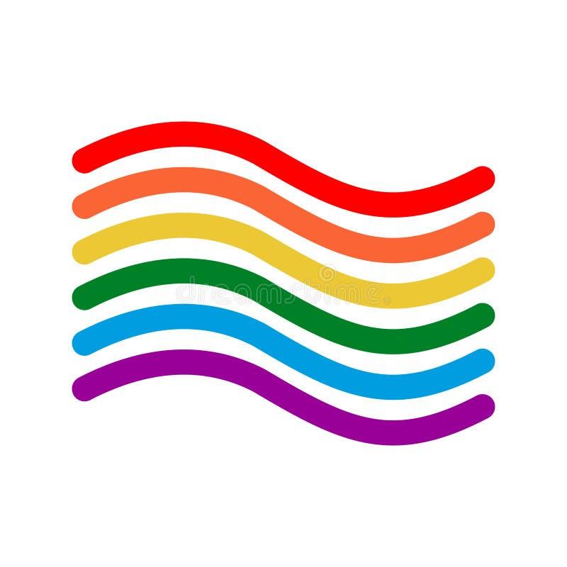 Estilo linear de la bandera de LGBT Muestra del arco iris Símbolo alegre ilustración del vector