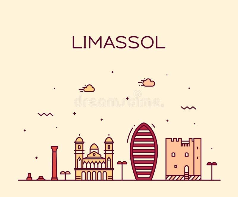 Estilo linear de la ciudad del vector de Chipre del horizonte de Limassol ilustración del vector
