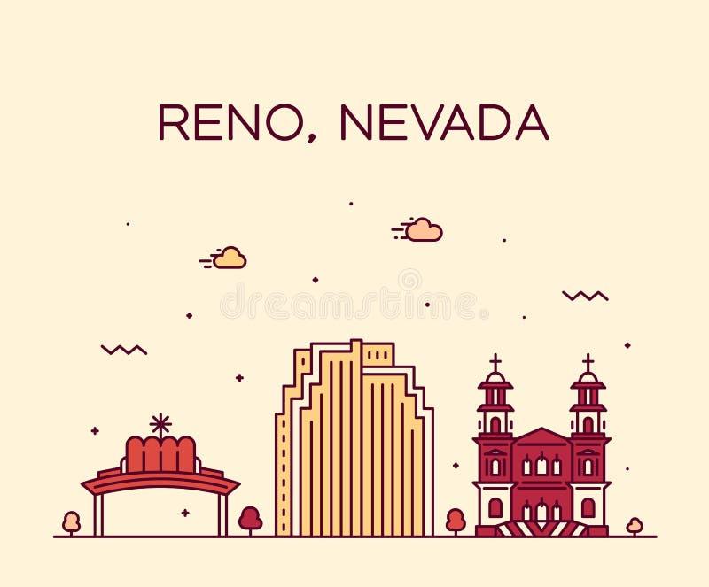 Estilo linear de la ciudad del vector de Nevada los E.E.U.U. del horizonte de Reno ilustración del vector