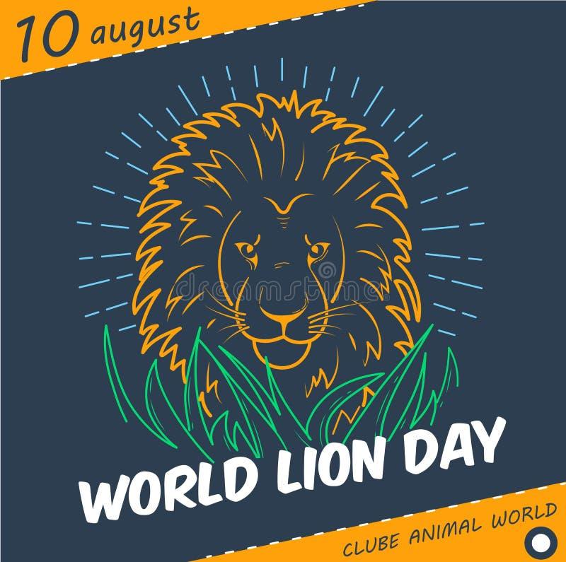 Estilo linear de Lion Day do mundo do feriado ilustração royalty free