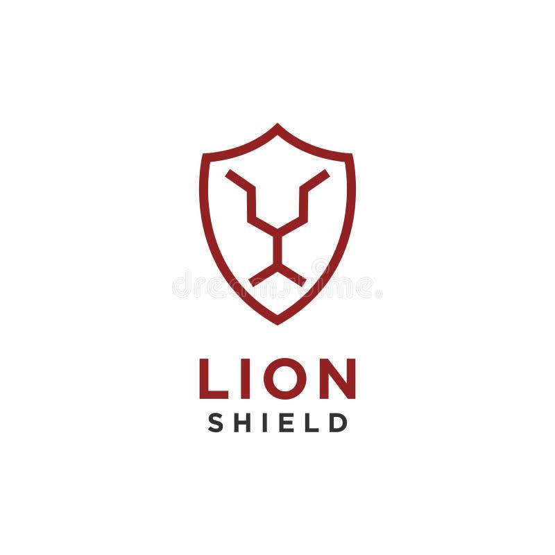 Estilo linear del diseño del logotipo del escudo del león stock de ilustración