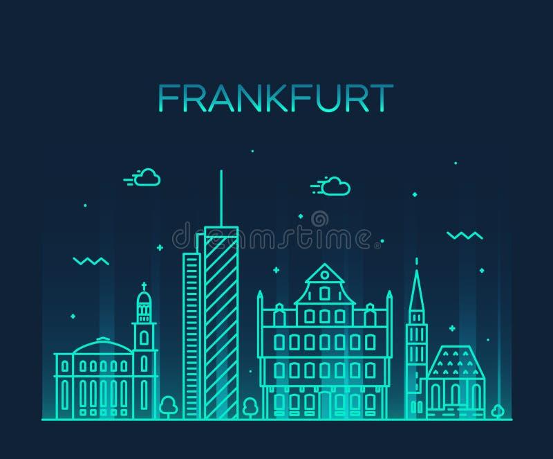 Estilo linear del ejemplo del vector del horizonte de Francfort libre illustration