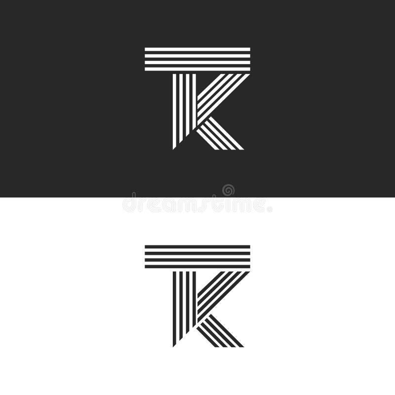Estilo linear del monograma de las letras del TK del logotipo, combinación que coincide dos letras T y K Líneas paralelas blancos ilustración del vector