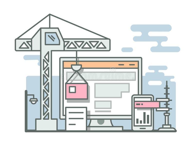 Estilo linear del sitio web de la construcción stock de ilustración