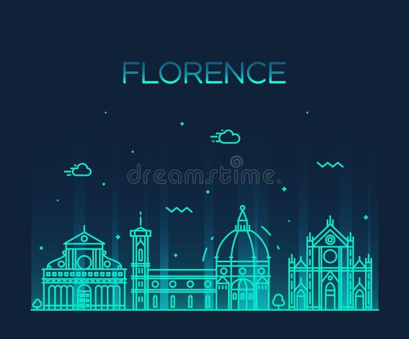 Estilo linear del vector de la silueta del horizonte de Florencia ilustración del vector