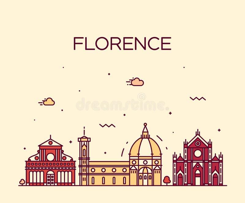 Estilo linear del vector de la silueta del horizonte de Florencia libre illustration