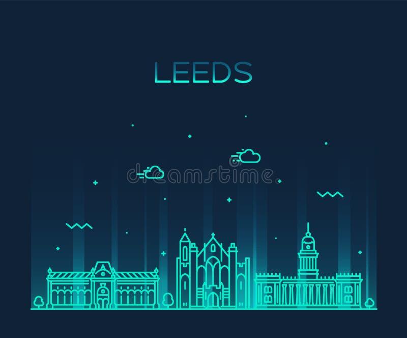 Estilo linear del vector de Leeds West Yorkshire Inglaterra ilustración del vector