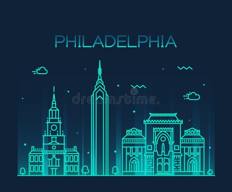 Estilo linear del vector de moda del horizonte de Philadelphia stock de ilustración