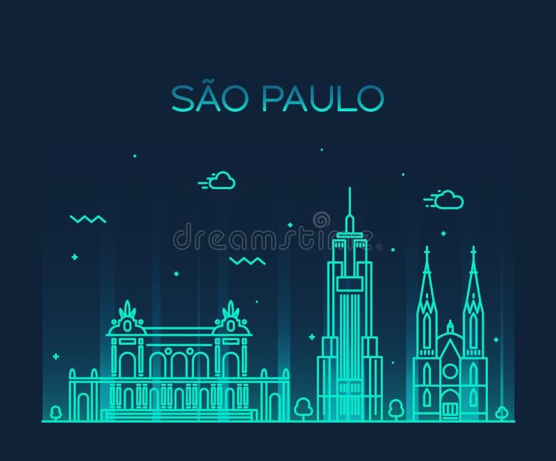 Estilo linear del vector de moda del horizonte de Sao Paulo ilustración del vector