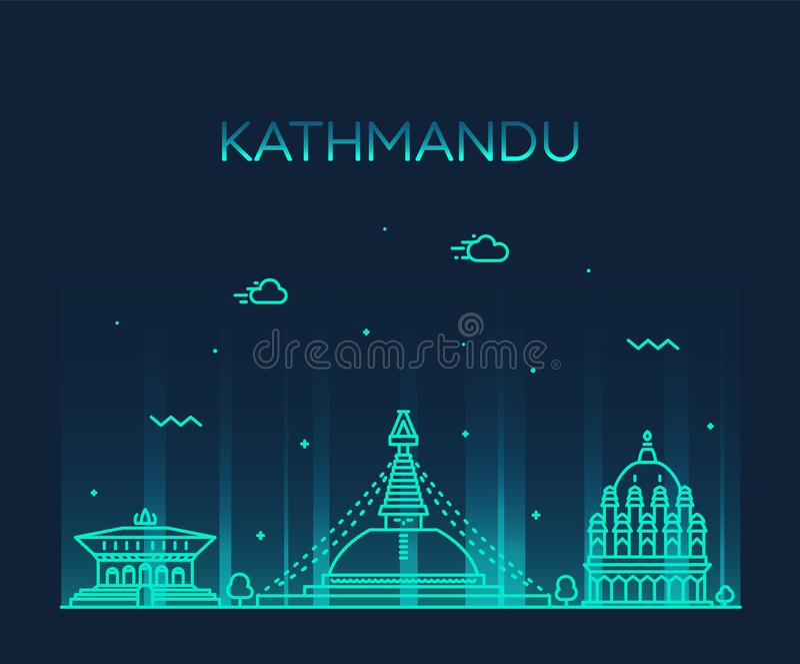 Estilo linear del vector de moda de Nepal del horizonte de Katmandu libre illustration