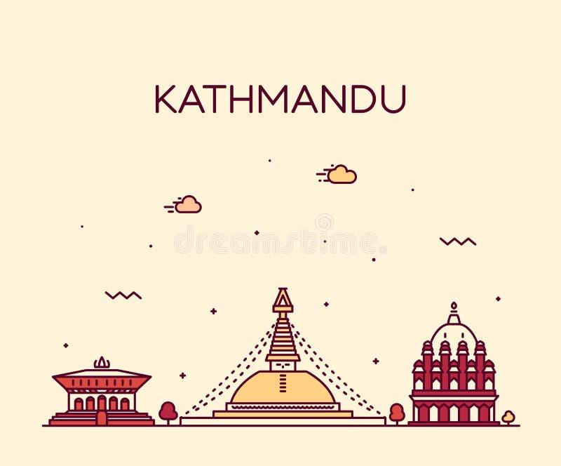 Estilo linear del vector de moda de Nepal del horizonte de Katmandu stock de ilustración