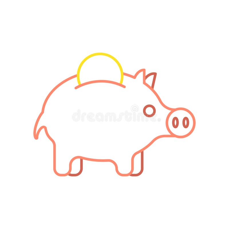Estilo linear do mealheiro e da moeda do porco Ilustração financeira C.A. ilustração royalty free