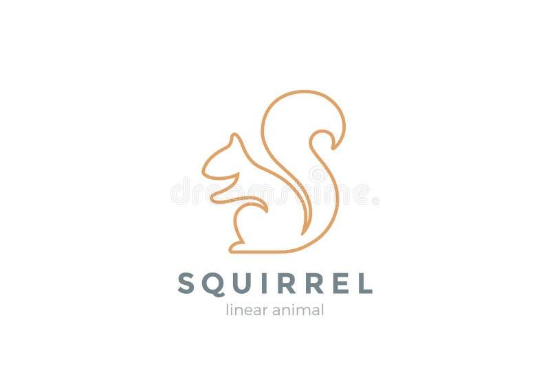 Estilo linear do molde do vetor do projeto do logotipo do esquilo ilustração royalty free