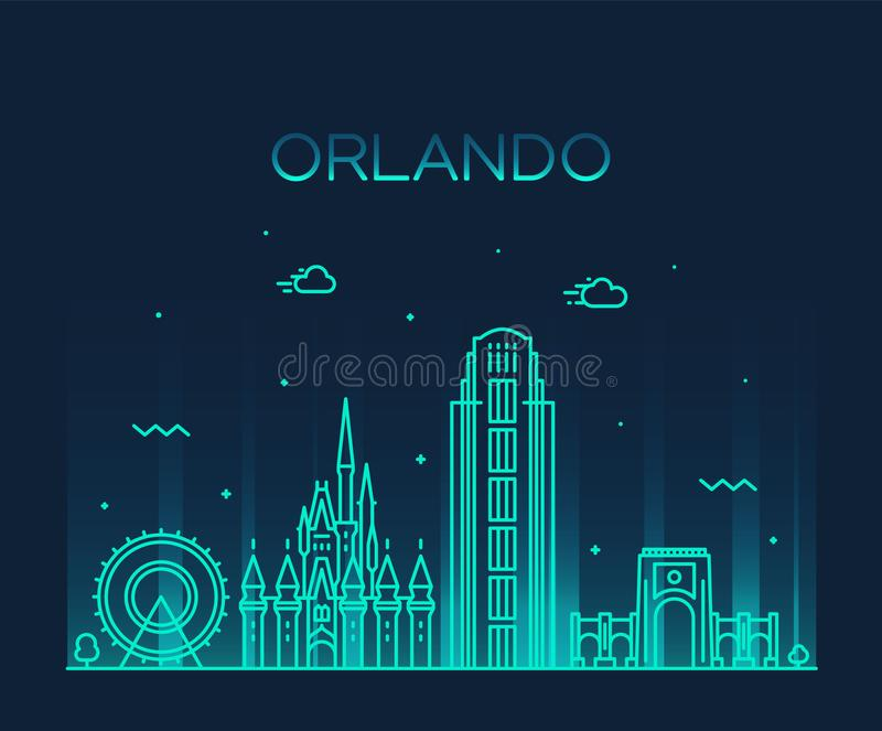Estilo linear do vetor de Florida EUA da skyline de Orlando ilustração royalty free