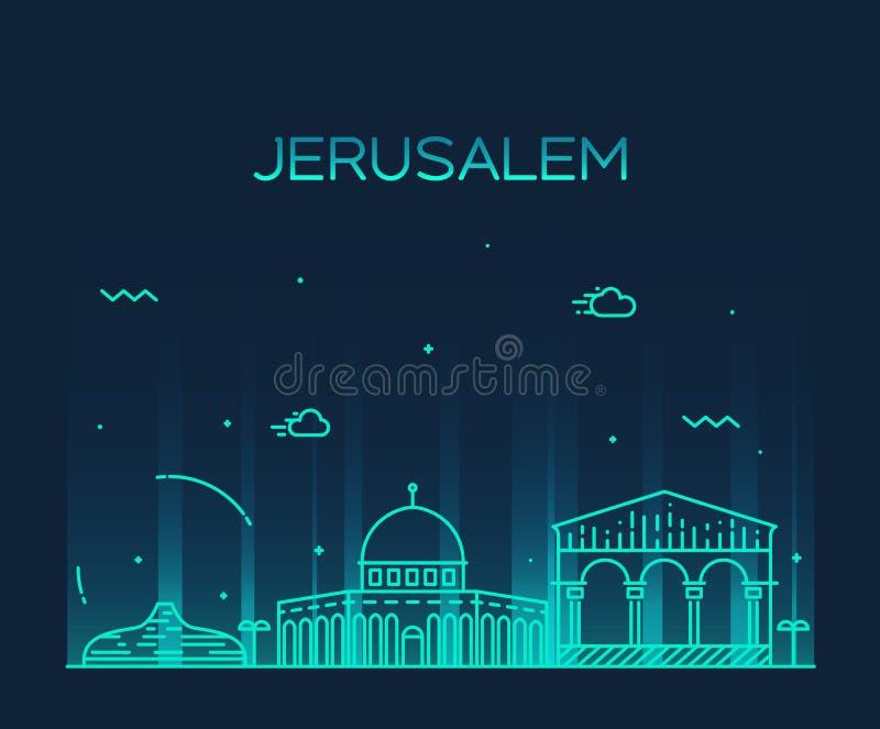 Estilo linear do vetor na moda da skyline do Jerusalém ilustração stock
