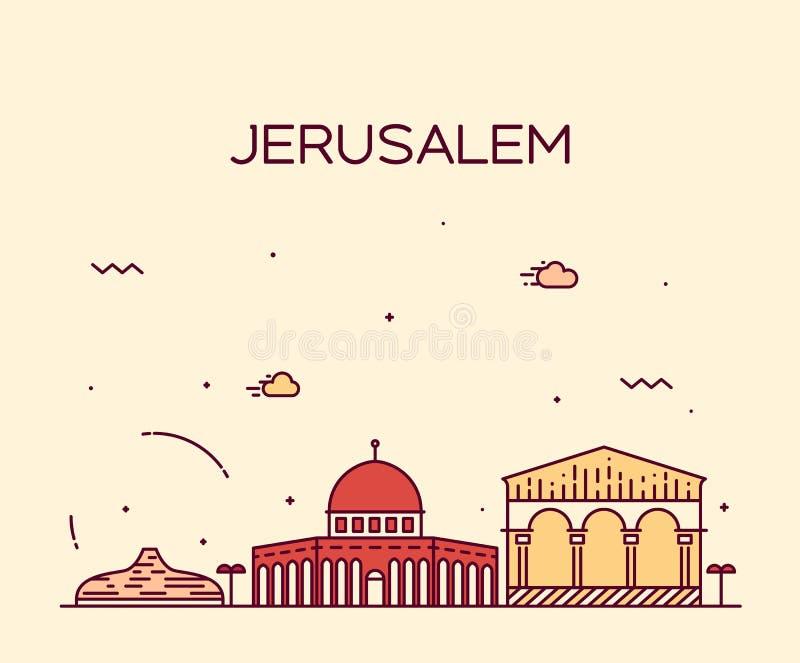 Estilo linear do vetor na moda da skyline do Jerusalém ilustração do vetor