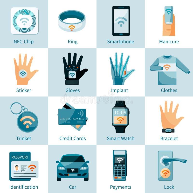 Estilo liso ajustado ícones da tecnologia de NFC ilustração royalty free