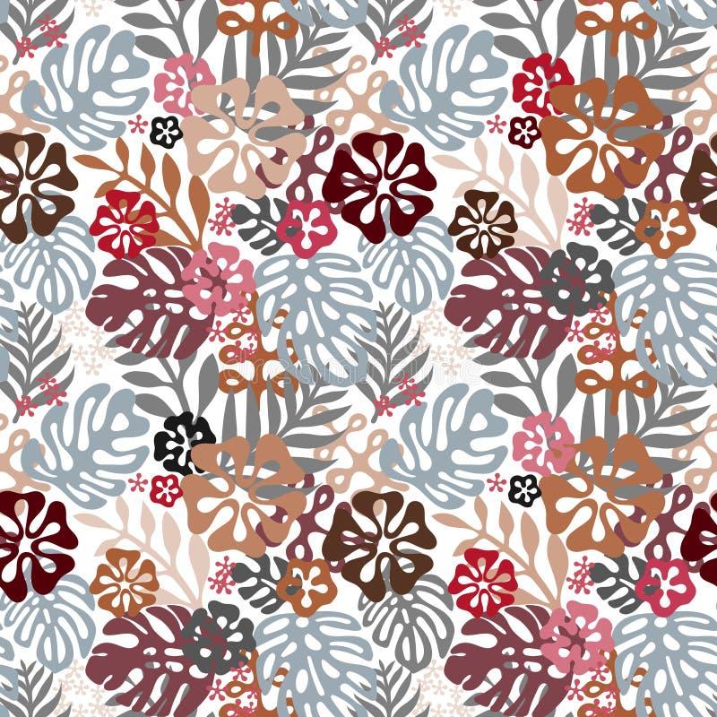 Estilo liso clássico do teste padrão havaiano sem emenda flores retros dos hibiscus Ilustração do vetor ilustração do vetor