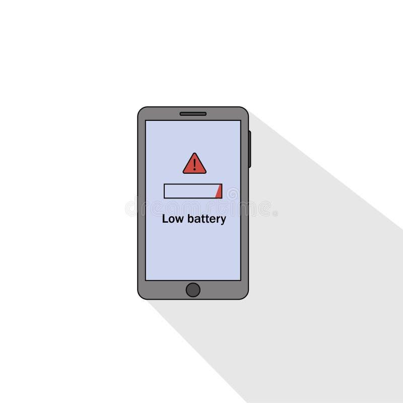 Estilo liso da baixa bateria de Smartphone Ilustra??o do vetor ilustração stock