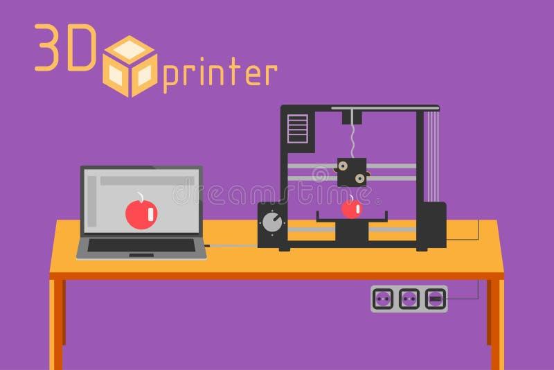 estilo liso da impressora 3d no fundo colorido ilustração stock
